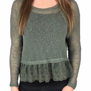 American Eagle | Green Shear Top With Lace Trim